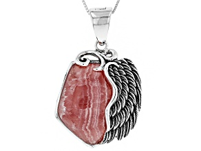 Pre-Owned Pink Rhodochrosite Silver Wing Enhancer with Chain