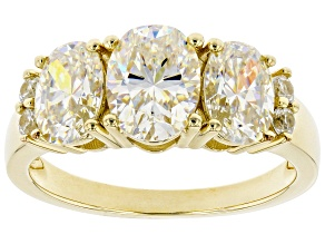 Pre-Owned Fabulite Strontium Titanate and white zircon 10k yellow gold ring 3.57ctw.