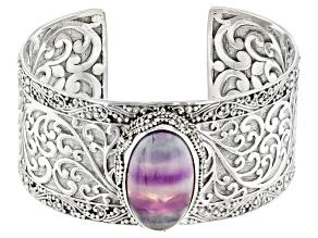 Pre-Owned Banded Fluorite Doublet Silver Cuff Bracelet