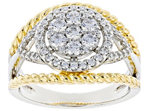 Pre-Owned White Cubic Zirconia Rhodium Over Sterling And 18k Yellow Gold Over Sterling Ring 1.46ctw