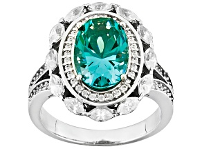 Pre-Owned Lab Created Green Spinel White Cubic Zirconia Silver Ring 5.25ctw