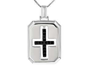 Pre-Owned Black Cubic Zirconia Rhodium Over Sterling Silver Cross Pendant With Chain 1.29ctw