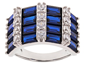 Pre-Owned Blue And White Cubic Zirconia Rhodium Over Sterling Silver Ring 6.1ctw