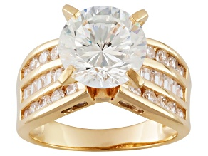 Pre-Owned Cubic Zirconia 18k Yellow Gold Over Silver Ring 8.51ctw