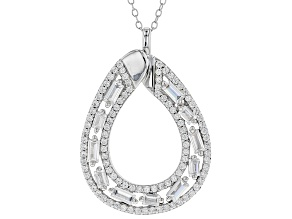 Pre-Owned White Cubic Zirconia Rhodium Over Sterling Silver Pendant With Chain 2.99ctw
