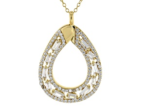 Pre-Owned White Cubic Zirconia 18K Yellow Gold Over Sterling Silver Pendant With Chain 2.99ctw