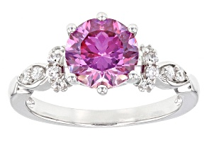 Pre-Owned Purple And White Cubic Zirconia Rhodium Over Silver Ring 3.73ctw