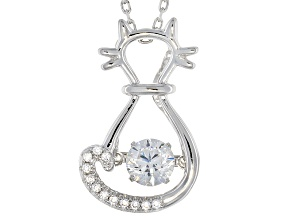 Pre-Owned White Cubic Zirconia Rhodium Over Silver Cat Pendant With Chain .91ctw