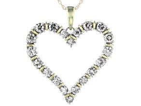 Pre-Owned Candlelight Diamonds™ 10k Yellow Gold Heart Pendant With 18 Inch Rope Chain 1.00ctw