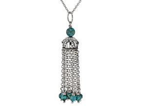 Pre-Owned Turquoise Bead Rhodium Over Silver 10-Chain Tassel Pendant W/Chain