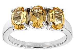 Pre-Owned Yellow Citrine Rhodium Over Sterling Silver 3-stone Ring 1.90ctw