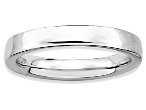 Pre-Owned Rhodium Over Sterling Silver Squared Band Ring