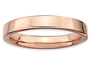 Pre-Owned 14k Rose Gold Over Sterling Silver Squared Band Ring