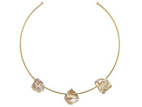 Pre-Owned Smoky Quartz 18k Yellow Gold Over Brass Collar