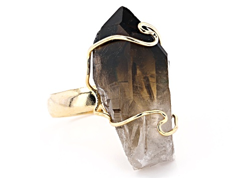 Pre-Owned Smoky Quartz 18k Yellow Gold Over Brass Ring