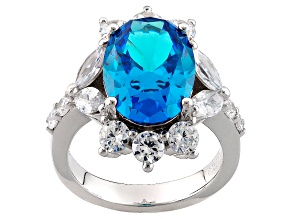 Pre-Owned Blue And White Cubic Zirconia Rhodium Over Sterling Silver Ring 13.10ctw
