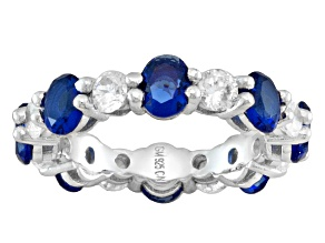 Pre-Owned Blue And White Cubic Zirconia Rhodium Over Sterling Silver Band Ring 4.42ctw