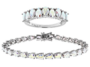 Pre-Owned Aurora Borealis Cubic Zirconia Rhodium Over Sterling Silver Ring And Bracelet Set 21.15ctw