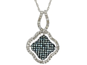 Pre-Owned Blue And White Diamond Rhodium Over Sterling Silver Cluster Pendant With Chain 0.85ctw
