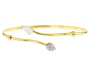 Pre-Owned Multi Color Lab Created Opal 18K Yellow Gold Over Sterling Silver Bracelet. 0.53ctw