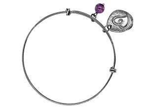 Pre-Owned Purple African Amethyst Rhodium Over Bronze Bangle Bracelet 0.38ctw