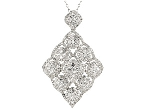 Pre-Owned White Zircon Rhodium Over Sterling Silver Pendant With Chain 4.25ctw