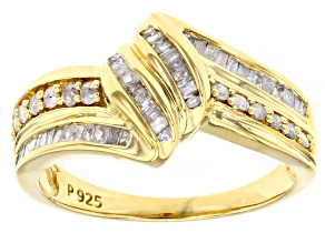 Pre-Owned White Diamond 18K Yellow Gold Over Sterling Silver Bypass Ring 0.50ctw