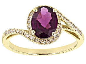 Pre-Owned Grape Color Garnet 10k Yellow Gold Ring 1.62ctw
