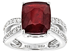 Pre-Owned Red Mahaleo(R) Ruby Rhodium Over Sterling Silver Ring 7.82ctw