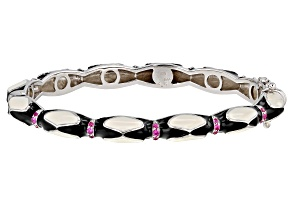 Pre-Owned Red Lab Created Ruby Black And White Enamel Rhodium Over Sterling Silver Bangle Bracelet 0