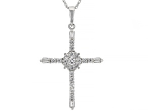 Pre-Owned White Lab Created Sapphire Rhodium Over Sterling Silver Cross Pendant With Chain 0.67ctw
