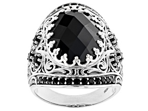 Pre-Owned Black Spinel Rhodium Over Sterling Silver Ring 9.22ctw