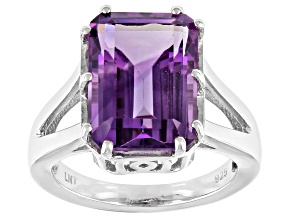 Pre-Owned Amethyst Rhodium Over Silver Solitaire Ring 5.95ctw