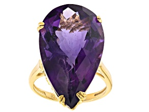 Pre-Owned Purple African Amethyst 18k Yellow Gold Over Sterling Silver Ring 17.00ctw