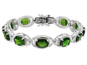 Pre-Owned Chrome Diopside Rhodium Over Silver Bracelet 18.58ctw