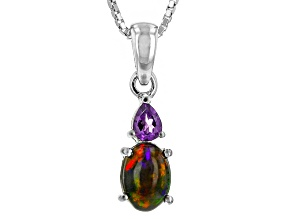 Pre-Owned Black Ethiopian Opal Sterling Silver Pendant With Chain. .63ctw