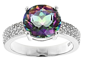 Pre-Owned Multi-color Quartz Rhodium Over Sterling Silver Ring 3.37ctw