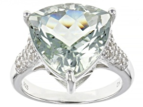 Pre-Owned Green Prasiolite Rhodium Over Silver Ring 7.57ctw