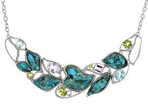 Pre-Owned Blue Turquoise Sterling Silver Leaf Necklace 5.99ctw