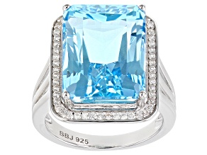 Pre-Owned Blue topaz rhodium over sterling silver ring 11.73ctw