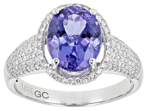 Pre-Owned Blue Tanzanite Rhodium Over 18K White Gold Ring 3.00ctw
