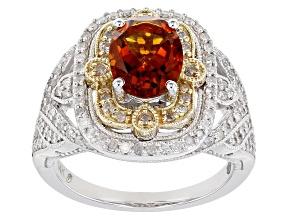 Pre-Owned Orange Madeira Citrine And White Diamond 14k Two-Tone Gold Center Design Ring 2.25ctw