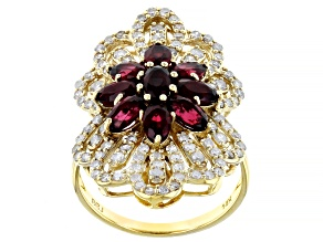 Pre-Owned Red Spinel And White Diamond 14K Yellow Gold Flower Cocktail Ring 3.05ctw