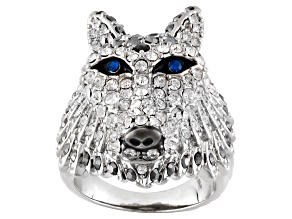 Pre-Owned Multicolor Crystal Enamel Silver Tone Wolf Ring