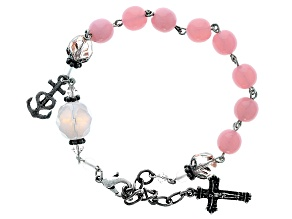 Pre-Owned Pink Glass Bead Silver Tone Brass Rosary Bracelet