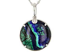 Pre-Owned Blue Azurmalachite Rhodium Over Silver Enhancer With Chain