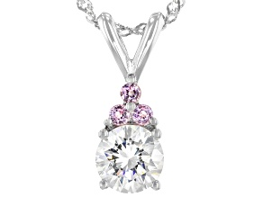 Pre-Owned Fabulite Strontium Titanate and pink spinel rhodium over sterling silver pendant  1.90ctw.