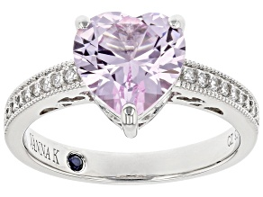 Pre-Owned Pink Lab Created Sapphire And White Cubic Zirconia Platineve Heart Shape Ring 2.88ctw