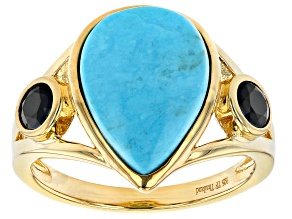 Pre-Owned Sleeping Beauty Turquoise & Black Spinel 18k Yellow Gold Over Sterling Silver Ring 0.31ctw