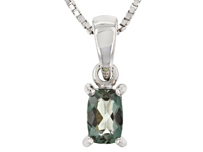 Pre-Owned Green Labradorite Sterling Silver Pendant With Chain .37ct